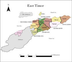 Administrative map of East Timor.