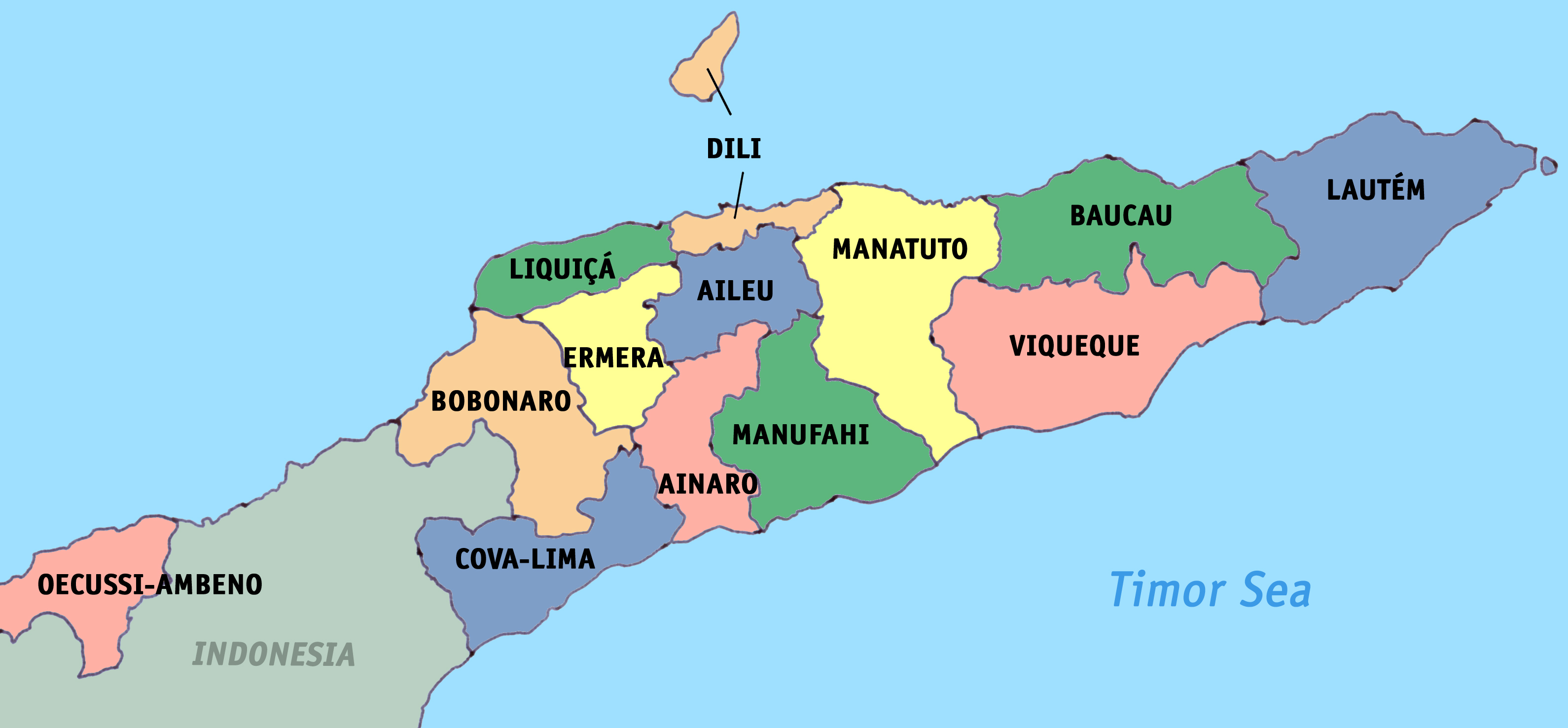 Maps of East Timor | Detailed map of East Timor (Timor Leste) in