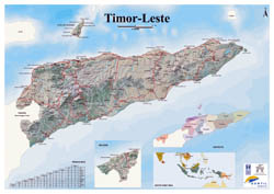 Large detailed map of Timor Leste with relief, roads and cities.