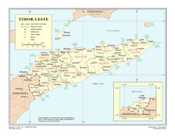 Large detailed political and administrative map of East Timor with roads, cities and airports.