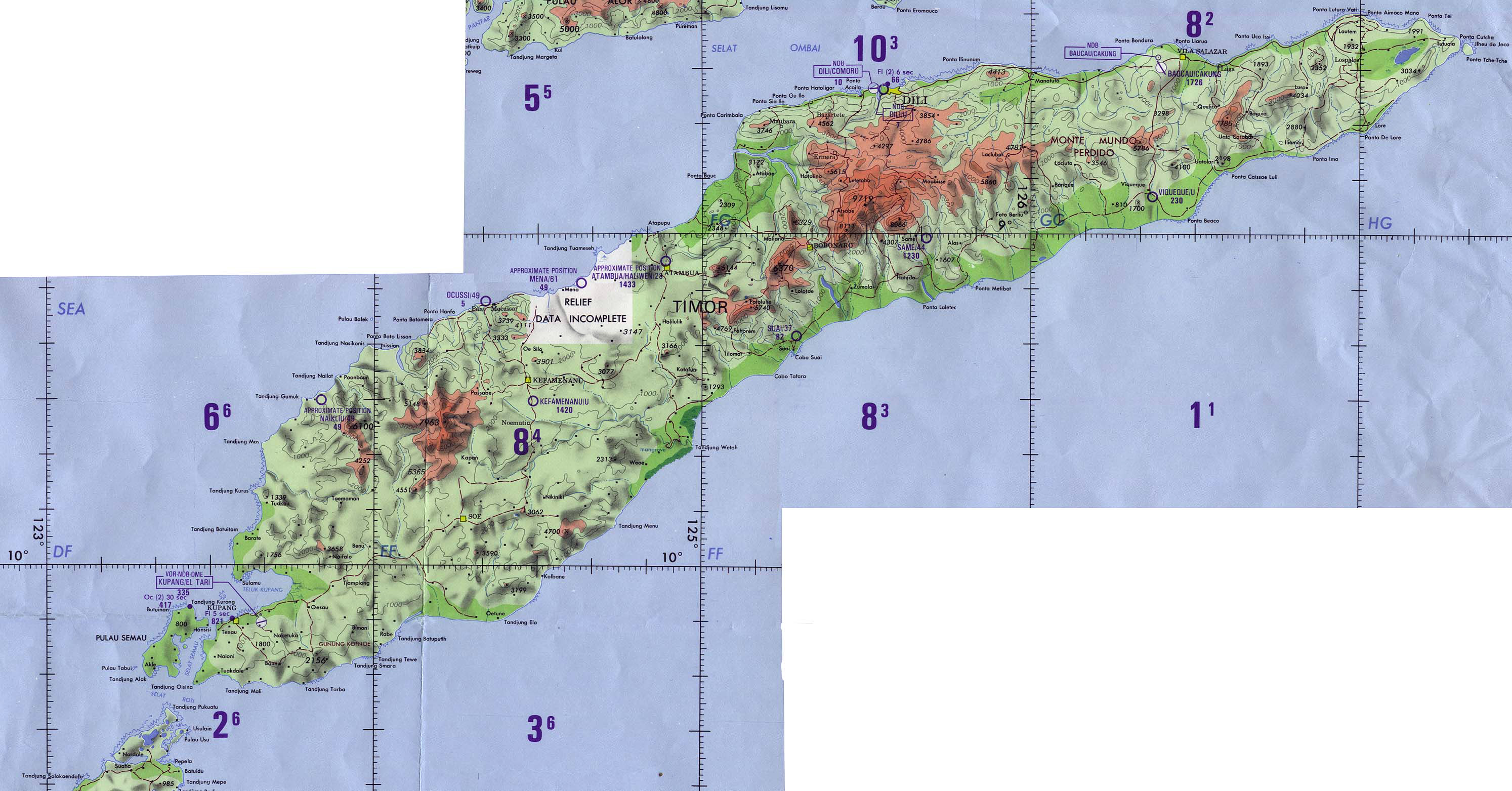 Large detailed topographical map of Indonesia and