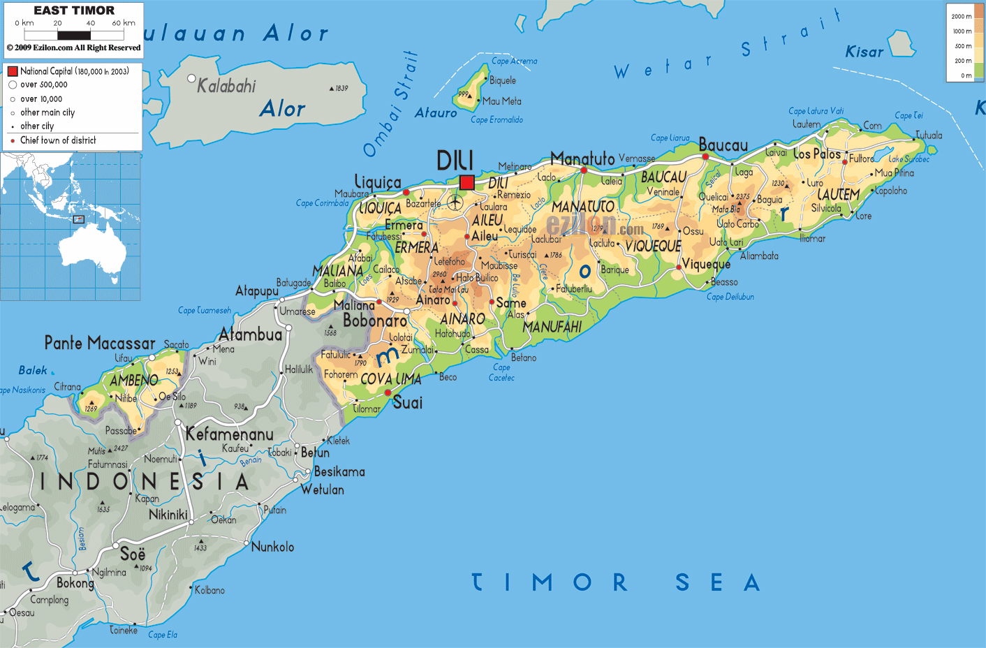 Maps of East Timor Detailed map of East Timor Timor Leste in English To