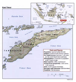 Large political map of East Timor with relief, roads and major cities - 2002.