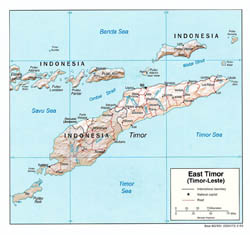Large political map of East Timor with relief, roads and major cities - 2003.