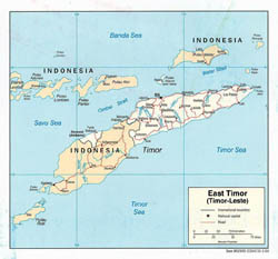 Large political map of East Timor with roads and major cities - 2003.