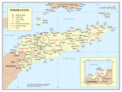 Large scale political and administrative map of East Timor with roads, cities and airports.