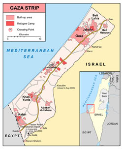 Detailed map of Gaza Strip with roads and cities.