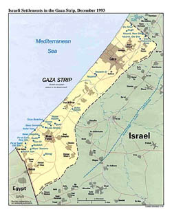 Detailed political map of Gaza Strip - 1993.