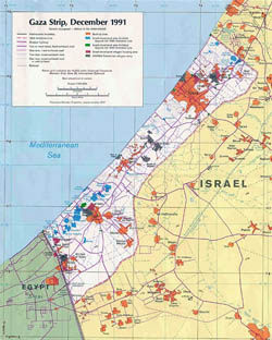 Detailed political map of Gaza Strip with roads and cities - 1991.