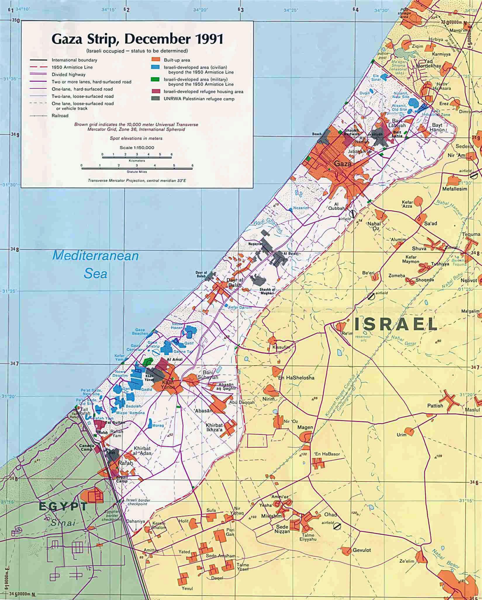 Maps of Gaza Strip | Detailed map of Gaza Strip in English | Road ...