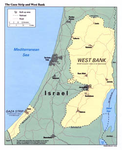 Detailed political map of the Gaza Strip and West Bank - 1993.