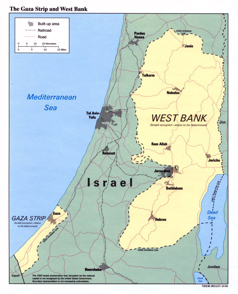 Maps of gaza strip detailed map of gaza strip in english road detailed political map of the gaza strip and west bank 1993 gumiabroncs Images