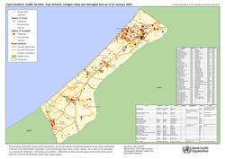 Large detailed health facilities and road network map of Gaza Strip - 2009.