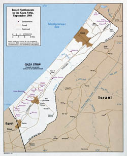 Large detailed map of Israeli Settlements in the Gaza Strip - 1985.