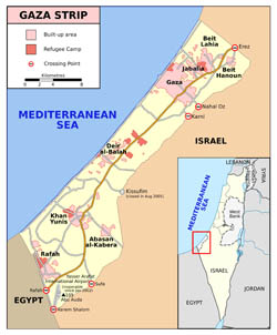 Large detailed map of Gaza Strip with roads and cities.