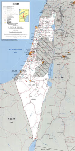 Large detailed political map of Israel with the West Bank, Gaza Strip and Golgan Heights.