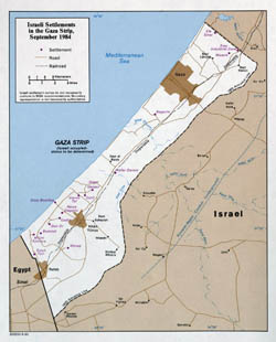 Large detailed political map of Gaza Strip - 1984.