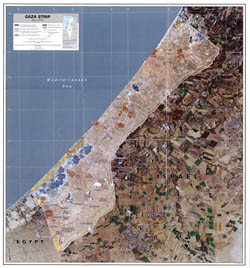 Large detailed satellite map of Gaza Strip - 2005.