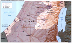 Large detailed transportation routes map of Gaza Strip and Southern West Bank Area with relief - 1994.