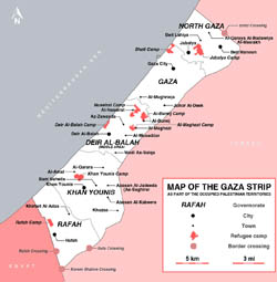 Large map of Gaza Strip with cities.