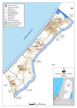 Large map of Gaza Strip with other marks.