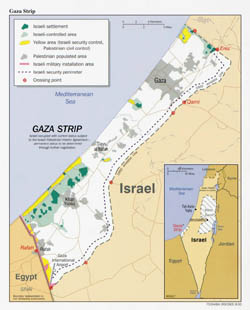 Large political map of Gaza Strip - 2000.