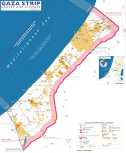 Large scale map of Gaza Strip with roads and cities - 2012.