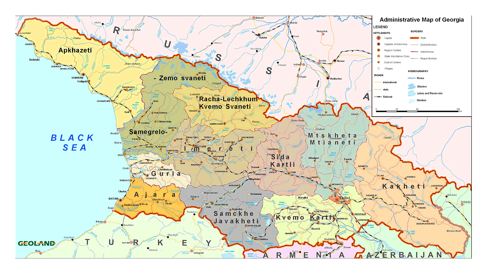 Maps of georgia detailed map of georgia in english tourist map administrative divisions map of georgia gumiabroncs Gallery