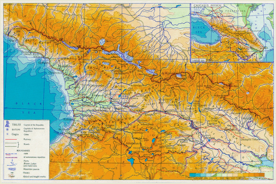 maps of georgia  detailed map of georgia in english  tourist map  - detailed physical map of georgia with roads and cities