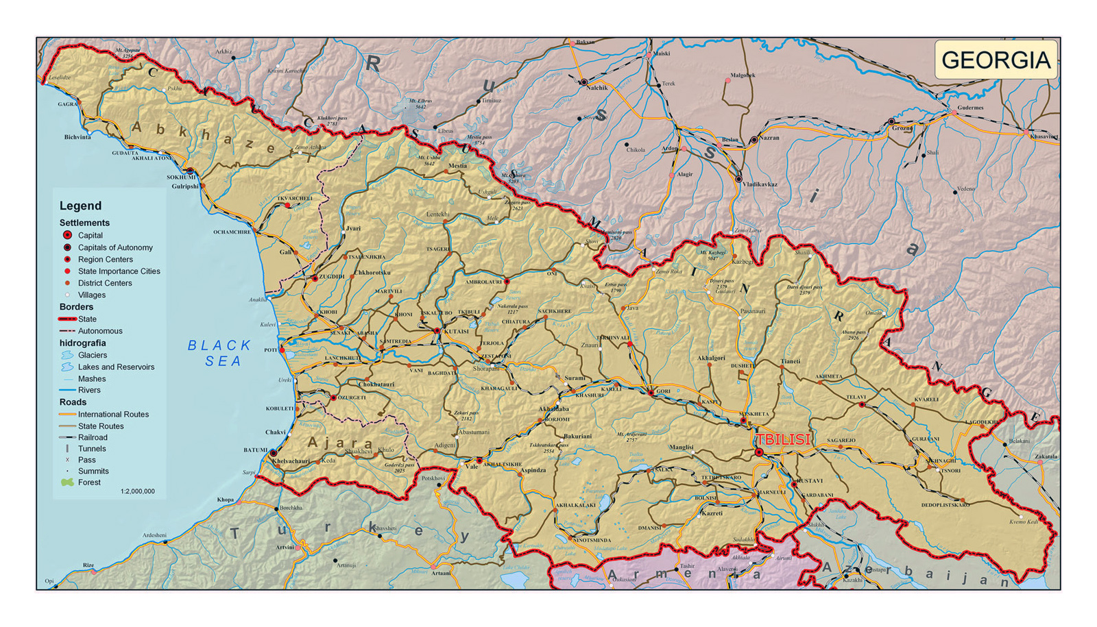 maps of georgia  detailed map of georgia in english  tourist map  - detailed political map of georgia with relief roads and cities