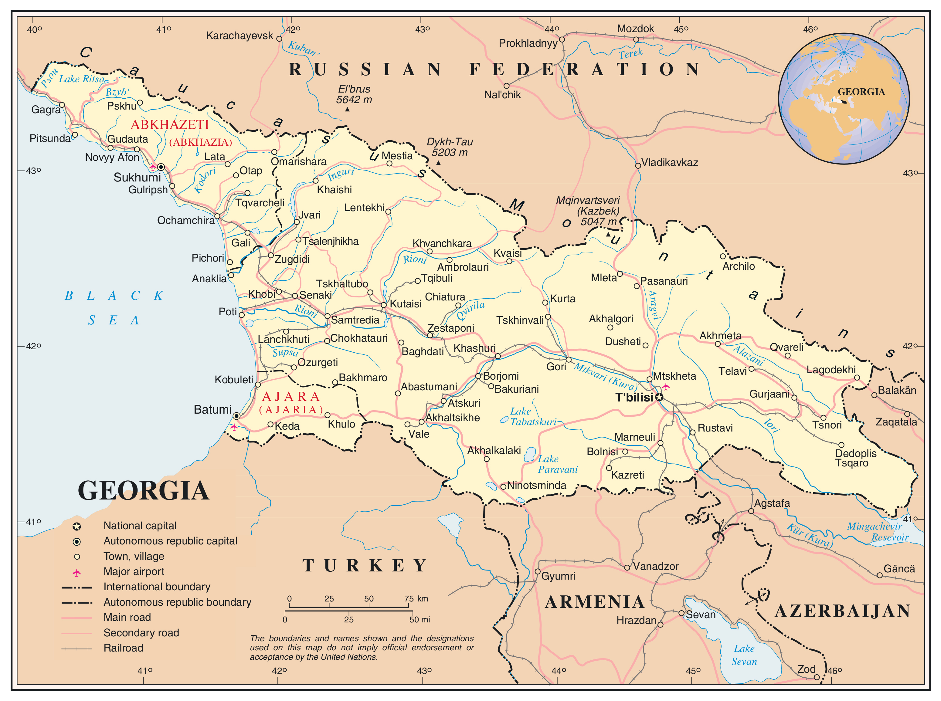 Map Of Georgia Showing Cities.Maps Of Georgia Detailed Map Of Georgia In English Tourist Map
