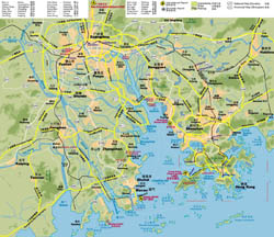 Detailde highways map of Hong Kong, Shenzhen, Guangzhou and Macau region.