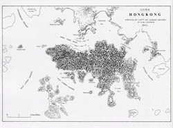 Detailed old map of Hong Kong island with relief - 1841.