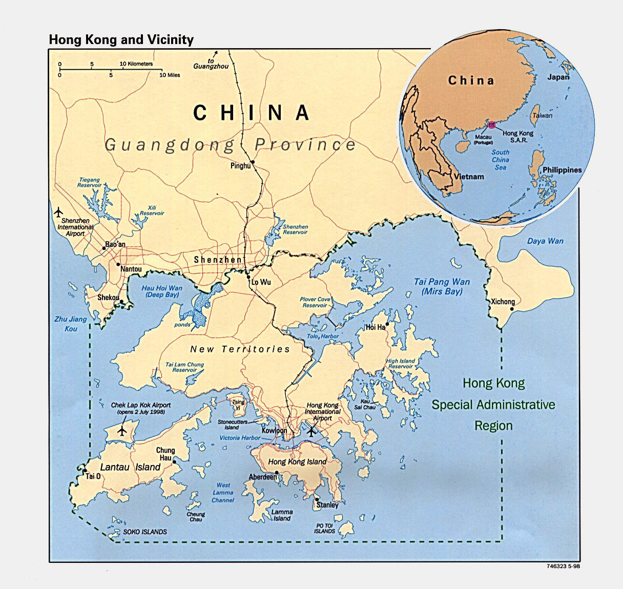 Detailed Political Map Of Hong Kong   1998.