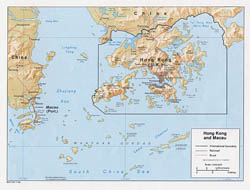 Detailed political map of Hong Kong with roads and relief - 1984.
