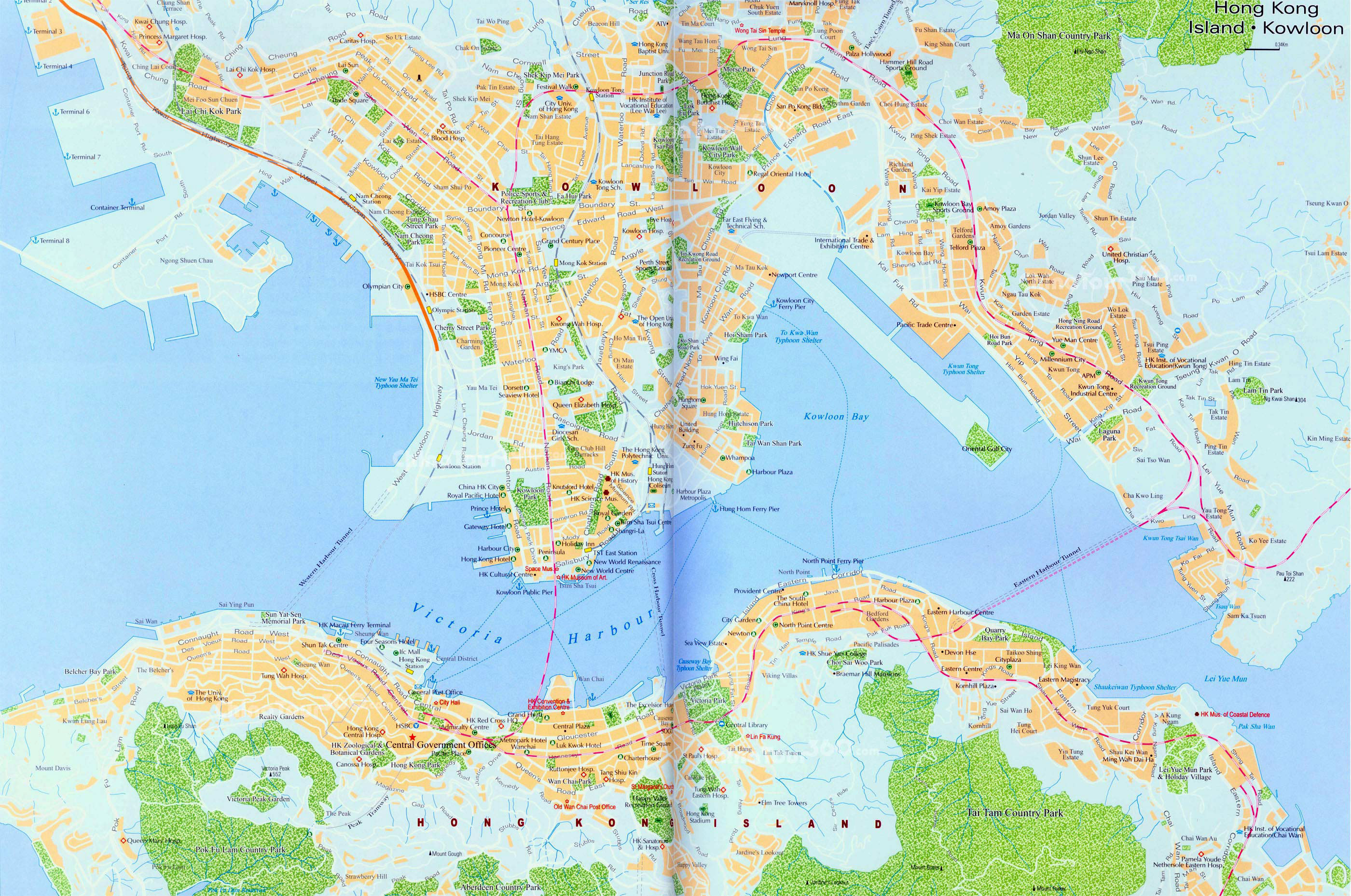 Maps of hong kong detailed map of hong kong in english tourist detailed road map of hong kong city gumiabroncs Images