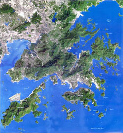 Detailed satellite map of Hong Kong.