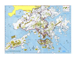 Detailed topographical map of Hong Kong.