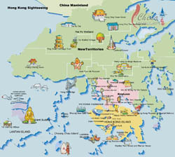 Detailed tourist map of Hong Kong.