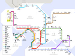 Large MTR map of Hong Kong.