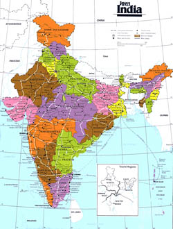 Administrative map of India with highways and major cities.