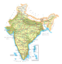 Detailed elevation map of India with roads, major cities and airports.