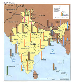 Detailed India religions map - 1987.