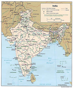 Detailed political and administrative map of India - 1996.