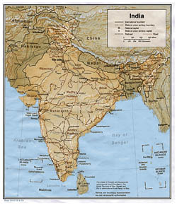Detailed political and administrative map of India with relief - 1979.