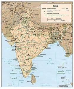 Detailed political and administrative map of India with relief - 1996.