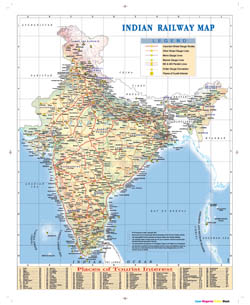 Large Indian railway map.