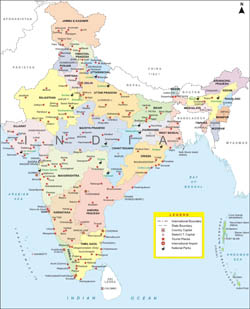 Large detailed administrative map of India with major cities.