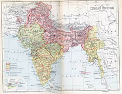 Large detailed old political and administrative map of India - 1893.