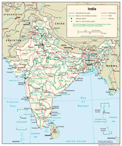 Large detailed political and administrative map of India with - 2001.